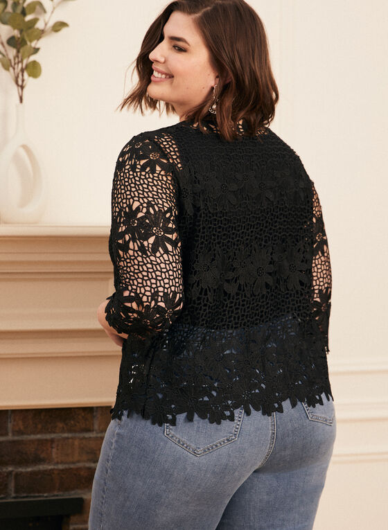 Crochet Effect Lace Top, Black