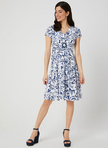 Floral Print Fit & Flare Dress, Blue,  jersey, textured, short sleeves, spring 2019
