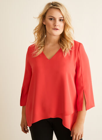 Joseph Ribkoff - Layered Crepe Blouse, Red,  blouse, v-neck, bell sleeve, crepe, layered, high low, spring summer 2020