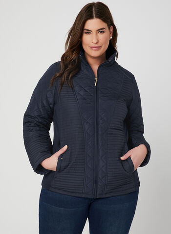 Weatherproof - Quilted Coat, Blue, hi-res,  spring 2019
