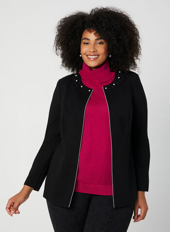 Pearl Detail Open Front Jacket, Black, hi-res,  fall winter 2019, jacket, open front, pearl