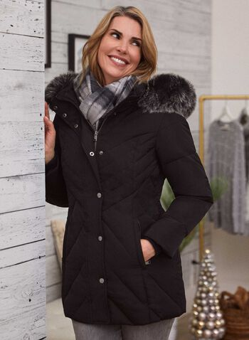 Hooded Down Blend Coat , Black,  coat, down, hood, quilted, fall winter 2020