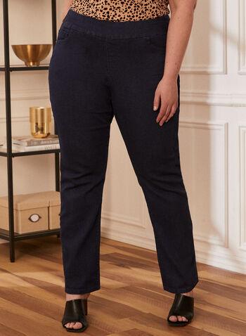 Jeans jambe droite à enfiler, Bleu,  pantalon, jeans, à enfiler, pull-on, poches, denim, extensible, jambe droite, GG jeans, printemps été 2021
