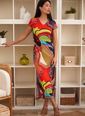 Charlie B - Abstract Print Dress, Multi,  spring summer 2021, Charlie B, dress, midi dress, maxi dress, abstract print, short sleeve, V neck, fitted, side slit