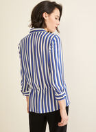 Stripe Print Crepe Blouse, Blue