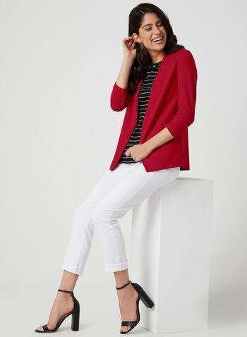 Stripe Print ¾ Sleeve Top, Blue,  3/4 sleeve, grommets, metallic, scoop neck, winter 2019, fall 2019