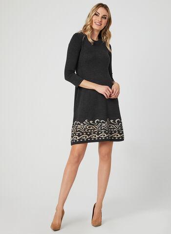 Fit & Flare Knit Dress, Grey, hi-res