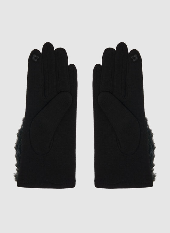 Gloves With Faux Fur Top, Black