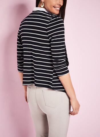 3/4 Sleeve Stripe Print Cardigan, , hi-res