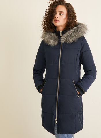 Laura Ashley - Hooded Coat With Faux Fur, Blue,  coat, hoodie, faux fur, laura ashley, vegan down, knit, fall 2019