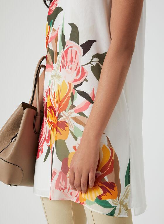 Floral Print Sleeveless Tunic, White, hi-res