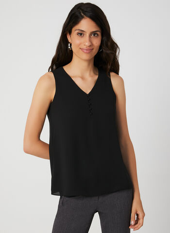 Button Neck Sleeveless Top, Black, hi-res,  V-neck, sleeveless, fall 2019, winter 2019,