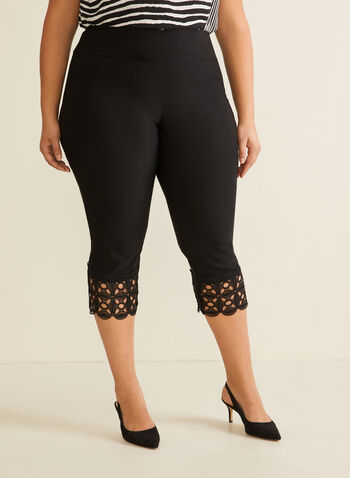 Crochet Detail Capri Pants, Black,  pants, capri, pull-on, slim leg, crochet, stretchy, bengaline, spring summer 2020