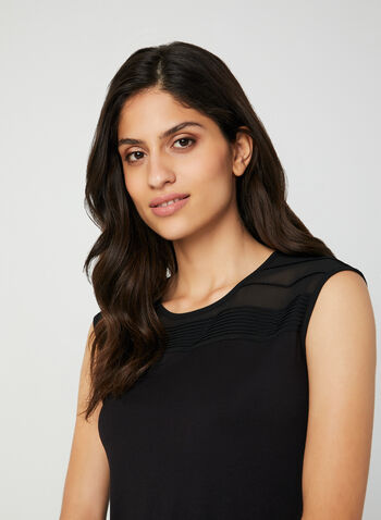 Pleated Sleeveless Top, Black, hi-res,  fall 2019, winter 2019, sleeveless, chiffon, scoop neck