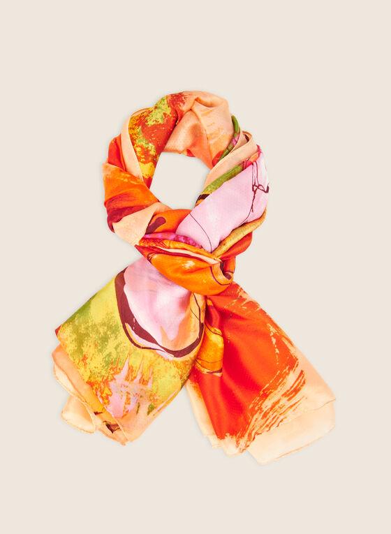 Lightweight Oblong Floral Print Scarf, Orange