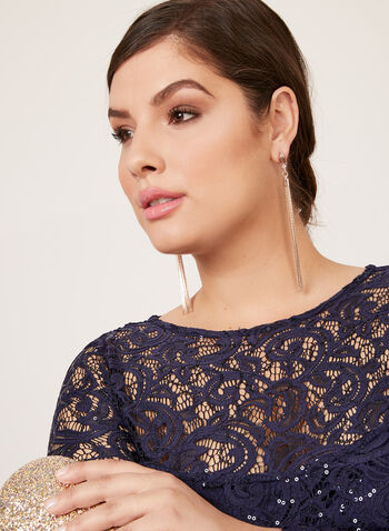 Marina - Sequin Lace Illusion Neckline Dress, Blue, hi-res