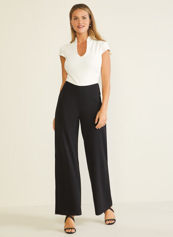 Sleeveless Contrast Jumpsuit, Black,  jumpsuit, short sleeves, contrast, u-neck, wide leg, fall winter 2020
