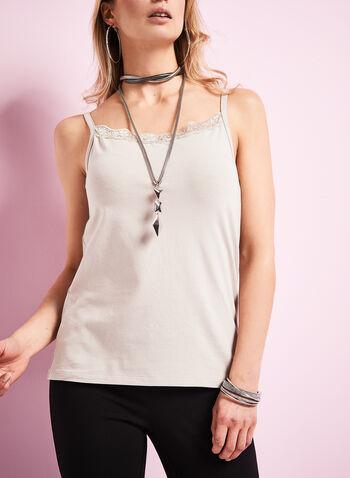 Lace Trim Cotton Camisole, Grey, hi-res