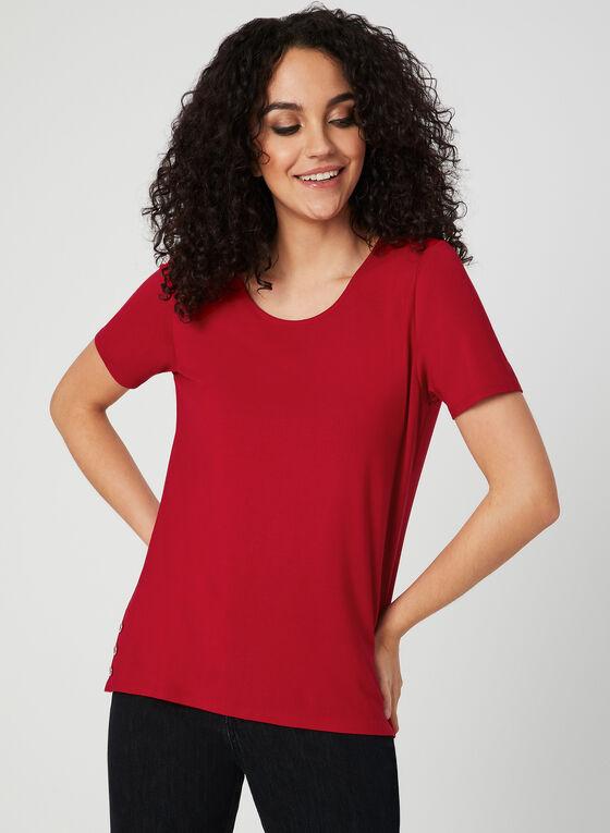 T-shirt à boutons décoratifs, Rouge
