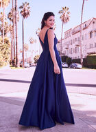 Deep V-Neck Satin Gown, Blue, hi-res