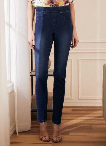 Jeans jambe droite à enfiler , Bleu,  jeans, denim, poches, pull-on, à enfiler, jambe droite, printemps été 2021