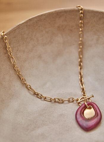 Collier à maillons avec pendentif en résine, Violet,  accessoires, bijoux, collier, pendentif, larme, résine, métal, couleur dorée, fermeture à bascule, automne hiver 2021
