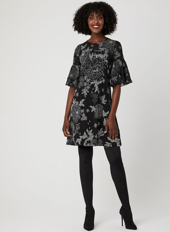 Floral Print Illusion Yoke Dress, Black, hi-res