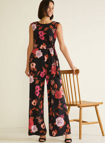 Floral Print Wide Leg Jumpsuit, Black,  jumpsuit, floral, cap sleeve, scoop neck, wide leg, pockets, jersey, spring summer 2020