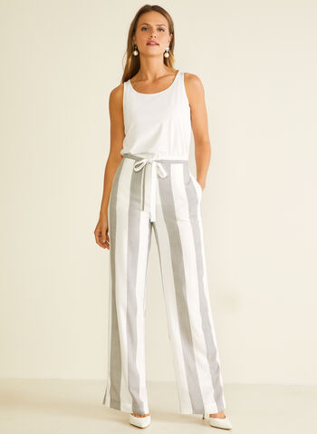 Stripe Print Wide Leg Pants, White,  pants, wide leg, stripe, rayon, belt, pockets, modern fit, spring summer 2020