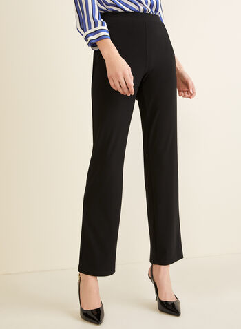 Pantalon pull-on coupe moderne, Noir,  jambe droite, jersey, printemps 2019
