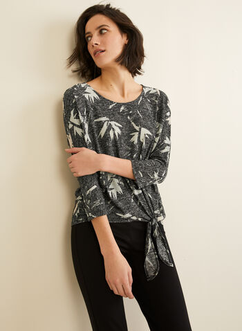 Tropical Print ¾ Sleeve Top, Black,  Canada, top, tropical, side knot, 3/4 sleeves, burnout, fall 2019, winter 2019
