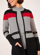 Cardigan ouvert à blocs de couleurs, Noir, hi-res