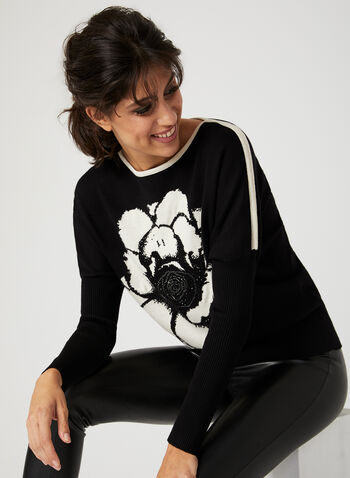 Vex - Floral Print Sweater, Black, hi-res