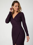 Robe texturée à encolure cache-coeur, Violet