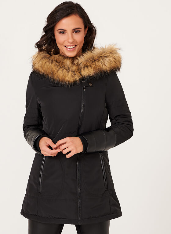 Nuage - Manteau matelassé avec capuchon en fausse fourrure , Noir, hi-res