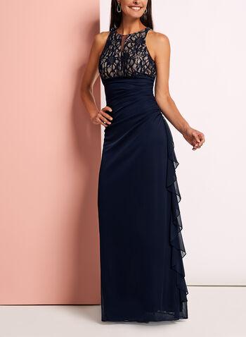 Lace Bodice Mesh Keyhole Dress, , hi-res