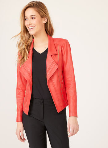 Vex - Open Front Faux Suede Jacket , Orange, hi-res