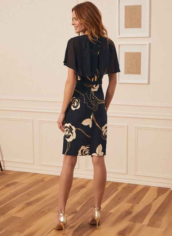 Joseph Ribkoff - Floral Print Capelet Dress, Blue