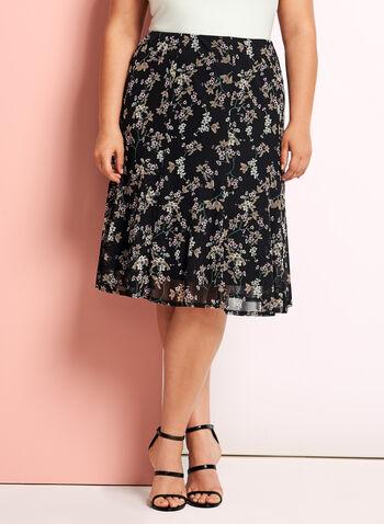 Jupe midi trapèze à motif floral, Noir, hi-res