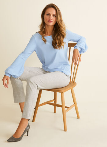 Crepe Balloon Sleeve Blouse, Blue,  top, blouse, scoop neck, balloon sleeves, crepe, stretchy, spring summer 2020