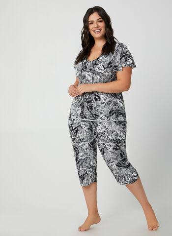 Hamilton - Pyjama 2 pièces motif fleurs, Noir,  pyjama, haut, fleurs, chaîne, col ajouré, capri, automne hiver 2019