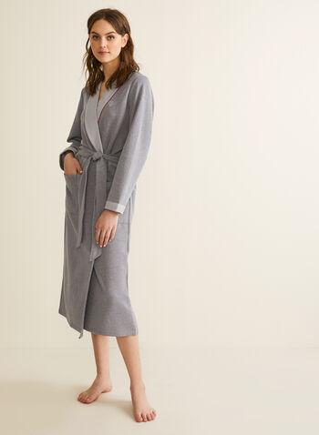 Claudel Lingerie - Peignoir en coton mélangé, Gris,  printemps été 2020, peignoir, pyjama, Claudel Lingerie