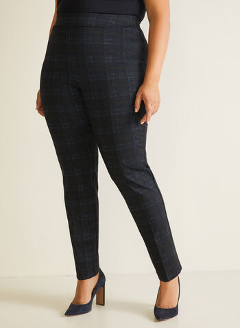 Tartan Print Slim Leg Pants, Blue,  pants, pull-on, slim, tartan, ponte di roma, fall winter 2020
