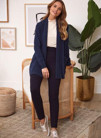 Cardigan ouvert mi-long, Bleu,  cardigan, gilet, ouvert, mi-long, maille côtelée, tricot, col châle, manches longues, poches, automne 2021