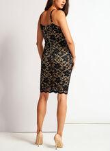 Floral Lace Sheath Dress, Black, hi-res