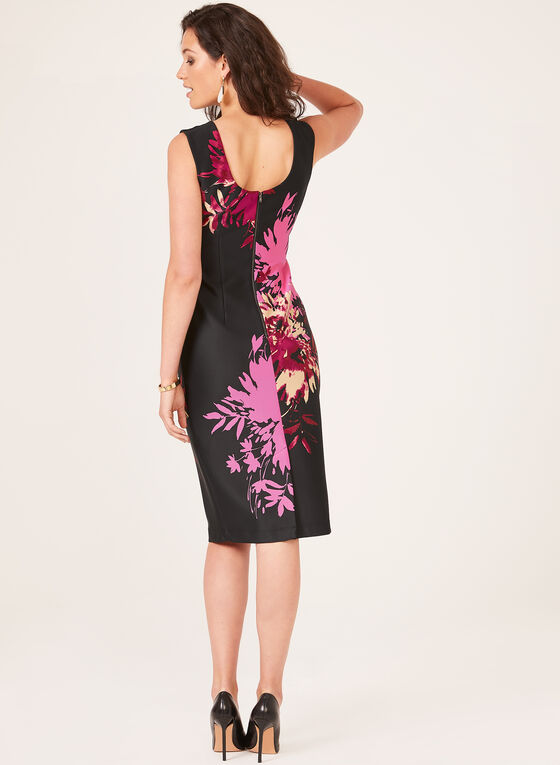 Floral Print Sheath Dress, Black, hi-res