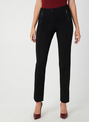 City Fit Zipper Detail Pants , Black, hi-res,  city fit, straight cut, pants, mid-rise waist, fall 2019, winter 2019
