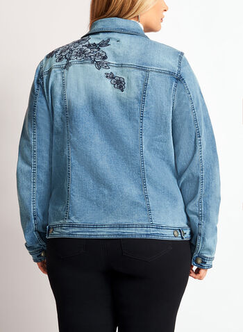 Floral Embroidered Denim Jacket, Blue, hi-res