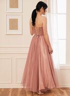 Robe de bal coupe bustier à cristaux, Rose
