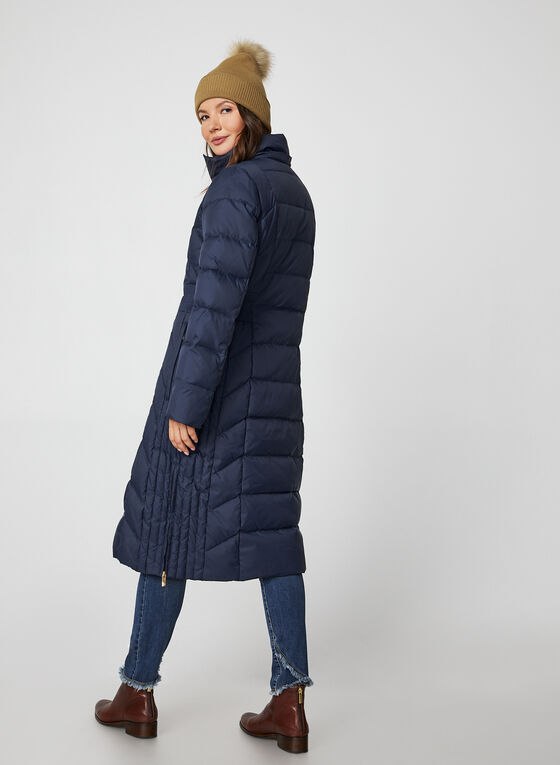Anne Klein - Long Hooded Quilt Coat, Blue